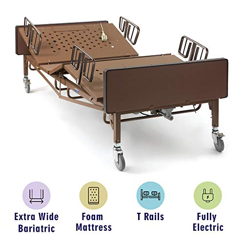 Full Electric Bariatric Hospital Bed with Foam Mattress and T-Rails Included - Extra Wide, Heavy...