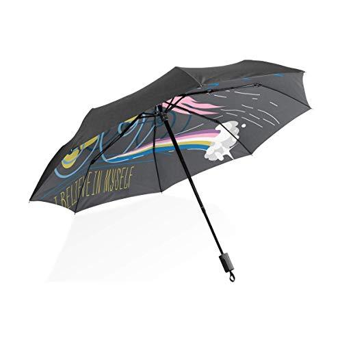 AOTISO Paraguas automático para Silla de Ruedas de Unicornio de Dibujos Animados, Paraguas de Viaje portátil, Paraguas Plegable con Marco Reforzado a Prueba de Viento