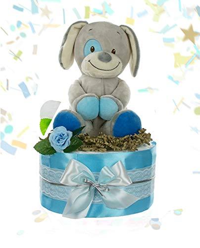 dubistda© Windeltorte Jungen GOOD BOY + große Spieluhr für Jungs | Geschenk für Jungen zur Geburt Babyparty Babyshower (blau)