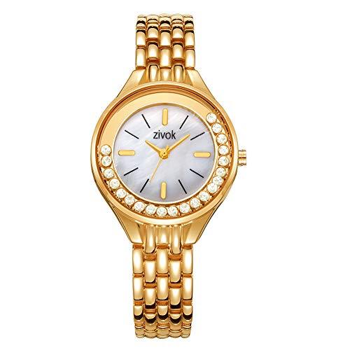LC-SHWatchs Armbanduhr Damen Frauen Damenuhr Mode Edelstahlarmband Golduhr Damenmodelle, Einfache wasserdichte Strass Zifferblatt Quarzwerk Damenuhr Geschenke Gold
