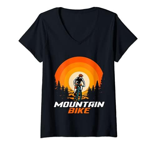 Mujer Bicicleta de montaña Retro Camiseta Cuello V