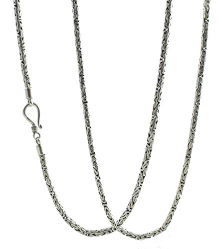 Shadi - Cadena de plata de ley con eslabones bizantinos o borobudur - joyería de plata artesanal
