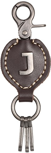 Brown Leather Alphabet Keychain, Single Letter with Easy Clasp Key – by Marino Ave – J – onesize