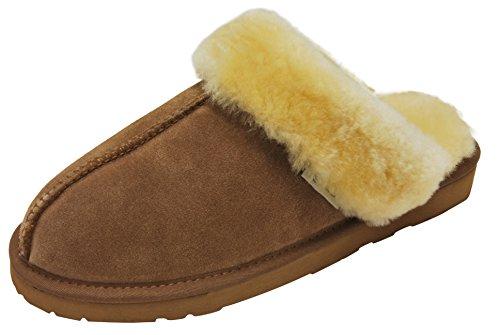 SLPR Women's Sheepskin Fernie Slipper (Camel, 8)