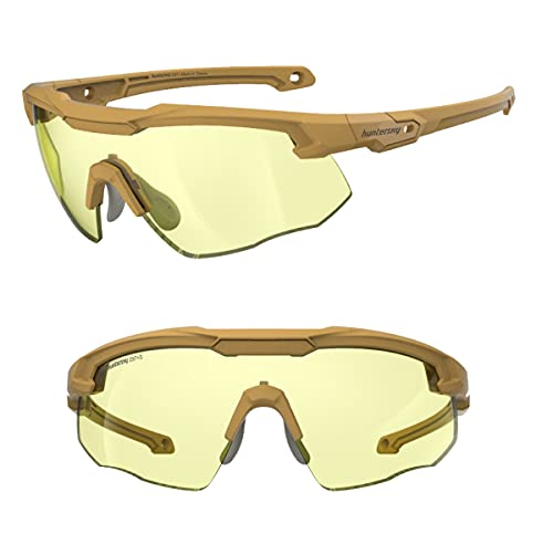 HUNTERSKY Tactical Shooting Glasses Military Grade with Ballistic Impact Protection, Superior...