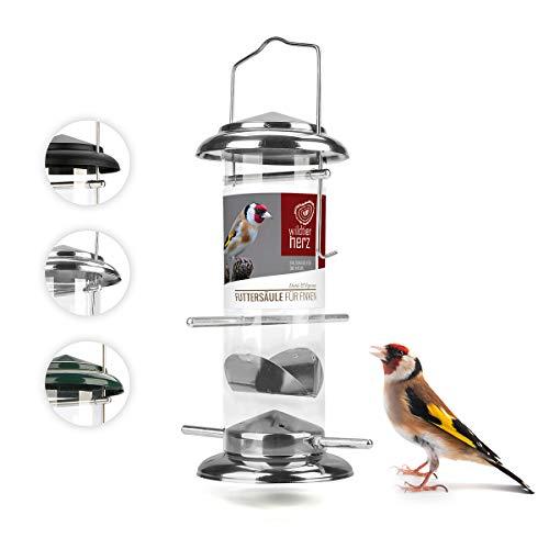 corazón animal salvaje I Comedero de 23,5 cm, semillas de niger para Stieglitz & Zeisig – Dispensador de comida para pájaros de acero inoxidable, comedero para pájaros, color plateado