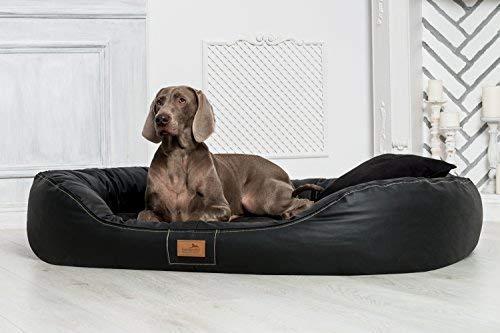 tierlando® Nonplusultra Lennart orthopädisches Hundebett mit Visco Plus | Kunstleder | Premium-Lounge Gr. XXL 140 cm SCHWARZ