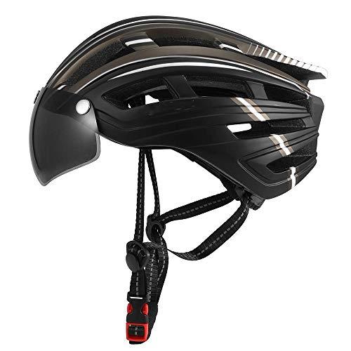 Claean-Acces-Home CascoAdultoUnisex Hombres Mujeres Casco de Bicicleta de montaña Casco de Motociclismo con luz de Fondo Visor magnético Desmontable Casco Protector UV