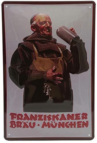 FRANZISKANER Bier, hochwertig geprägtes Blechschild, 30 x 20 cm, Brauerei-Weizen-Biergarten - Retro Werbeschild