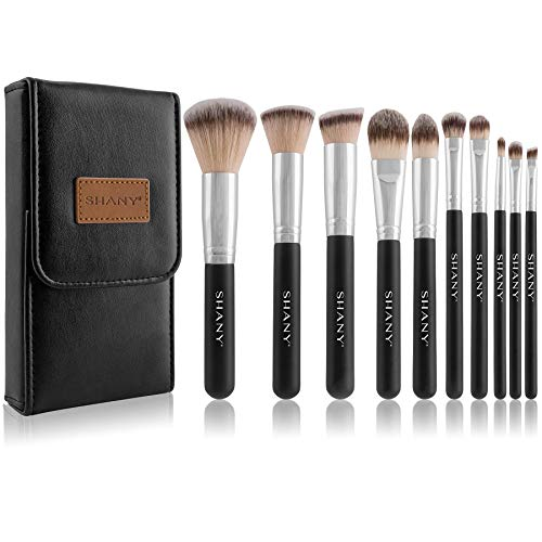 SHANY Ombre Pro 10 Piece Essential Brush Set with Travel Pouch, Black by SHANY