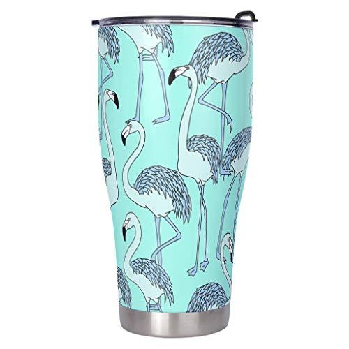 MiKiBi-77 Botellas Flamingo Botella de agua al aire libre – Animal 18/8 Botella de agua de acero inoxidable mantiene bebidas y alimentos blancos 900 ml