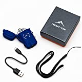 MOUNT-TEK Flashlight and Electric Arc Lighter Combo | Tactical Aluminum Dual Arc USB Rechargeable Flameless Waterproof Stormproof Windproof for Survival Outdoor Camping Hiking (Blue)