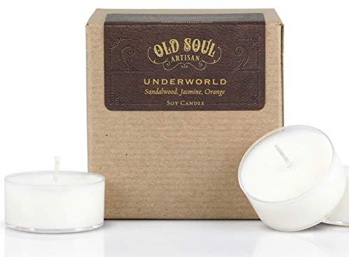 Underworld - Sandalwood Tea Light Candles with Jasmine, Orange Scented Soy Egyptian Mythology - 16