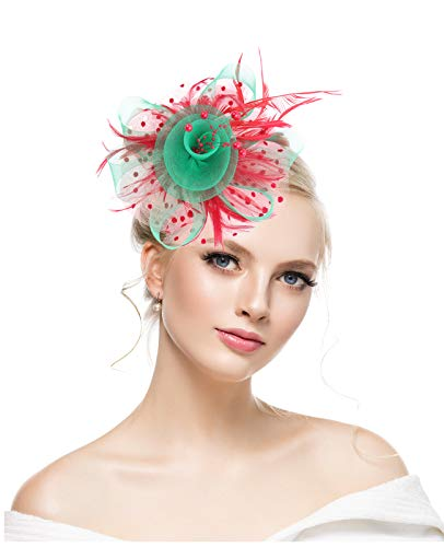 KASTE Fascinator for Women Feather Mesh Net Veil Party Hat Flower Derby Hat with Clip and Hairband for Christmas