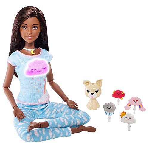 Barbie ?Breathe with Me Meditation Doll, Brunette, with 5 Lights & Guided Meditation Exercises, Puppy and 4 Emoji Accessories, Gift for Kids 3 to 8 Years Old
