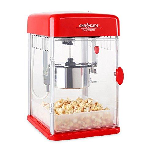 Klarstein Rockkorn - máquina de palomitas de maíz, retro, palomitero, 350 W, extraíble, iluminación interior, aprox. 60 l/h, puerta con cerradura magnética, cuchara dosificadora, Rojo