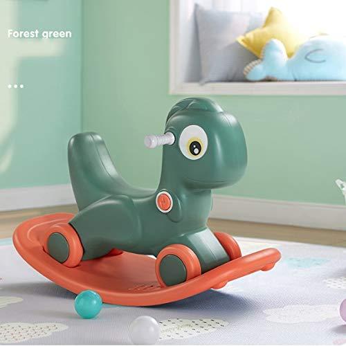 NXYJD Baby Schaukelpferd Spielzeug 2-5 Jahre alte Kinder Reitspielzeug 2 in 1 rutschfesten Schaukelpferd Roller (Color : Green)