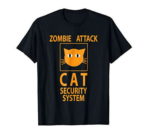 Zombie Funny Cat Security System T-Shirt Humor Halloween
