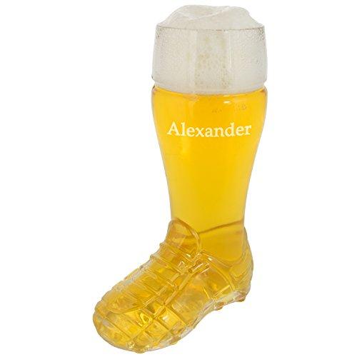 Bierstiefel – Fußball 0,5 Liter mit Name: witziges Bierglas für Fußball-Fans – persönliches Biergeschenk für Männer – Bier Glas mit Wunschname personalisiert für Freund – Vatertaggeschenke für Papa