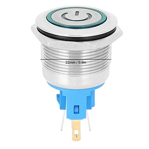 Interruptor de botón de Metal con luz LED a prueba de agua de 2 uds, botón de bloqueo automático DC12-24V, interruptor de botón para ascensor(green, Pisa Leaning Tower Type)