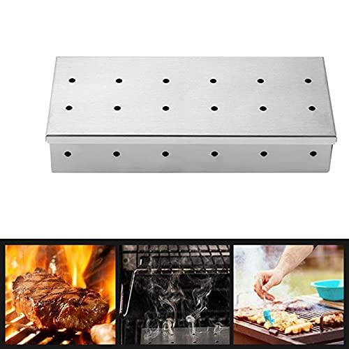 Grill-Räucherbox für Holzchips, Edelstahl-BBQ-Räucherbox für Gasgrill und Holzkohlegrills, Fügen Sie Rauchigen BBQ-Geschmack auf Gegrilltem Fleisch zum Grillen zu Hause / im Garten / im Freien Hinzu
