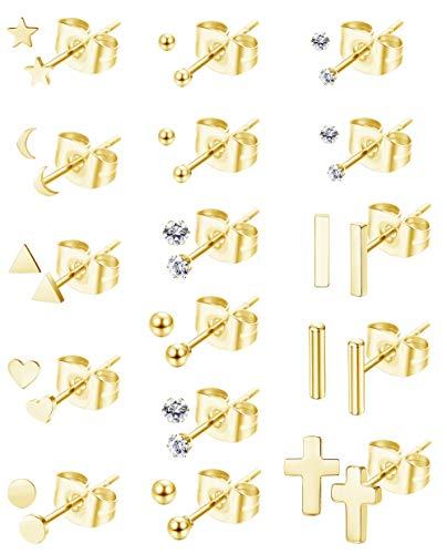 YADOCA 16 Pares Acero Inoxidable Pendientes para Mujer Niñas Conjunto Corazon Estrella Luna Triángulo Bar Cruz Pendientes Hélix Piercing Oreja Cartilago Pendientes Plata Oro Rosa