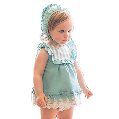 DOLCE PETIT - Vestido Verde con Braga Y Gorro bebé-niños Color: Verde Talla: 18M