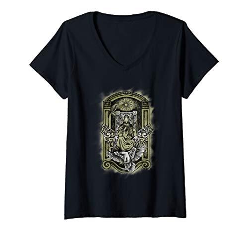 Damen Wikinger Wolf und Adler Geschenk Nordische Mythologie T-Shirt mit V-Ausschnitt
