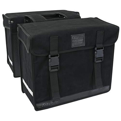 FAST RIDER Canvas Doppeltasche 36 | Robuste Tasche mit Schnell Ausschlüsse und Aussparung | Reflektierstreifen | 47 Liter | Schwarz