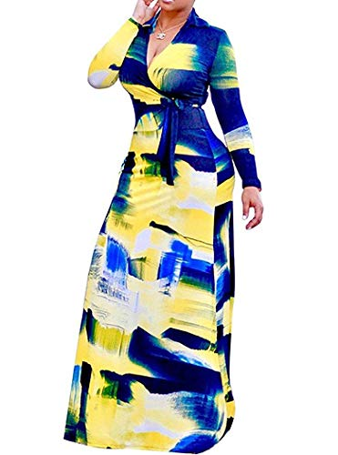 Locryz Women's V Neck 3/4 Sleeve Digital Printed Loose Long Maxi Party Dress with Belt (M, Blue)
