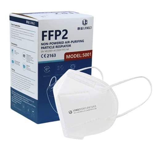 LANGCI - Mascherine FFP2 Confezione da 50 Pezzi - Imbustate e Sigillate Singolarmente - Certificate CE