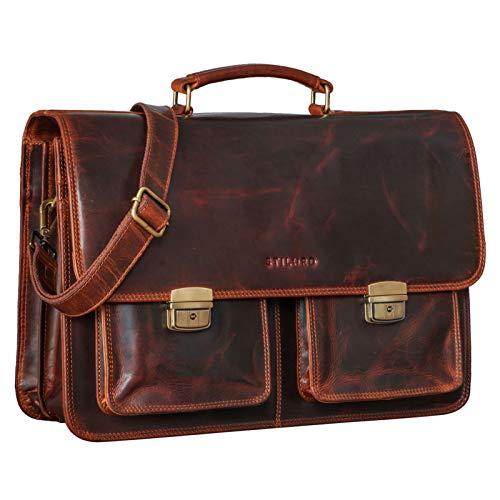 STILORD 'Arno' Ledertasche Aktentasche XL Vintage Laptop Tasche 15,6 bis 17 Zoll Große Umhängetasche Leder für Lehrer Business Arbeit Schultasche Trolley Aufsteckbar, Farbe:Kara - Cognac