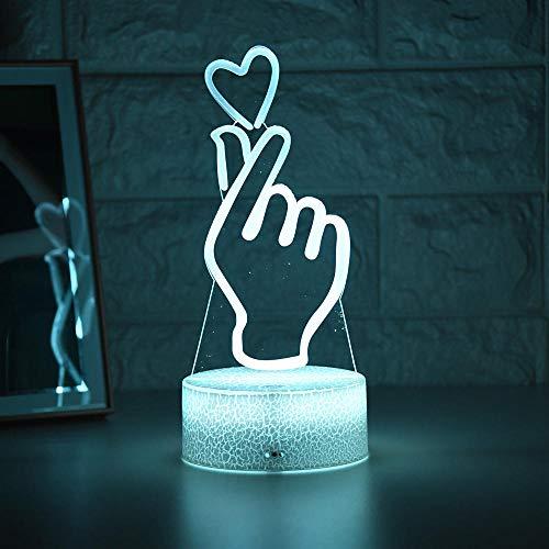 Lámpara de ilusión 3D Luz de noche LED 2021 Est Lámpara de mesa de comedor creativa Romántica como corazón Niños Decoración del hogar Regalo