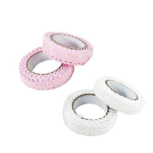 inherited 4 pièces Ruban Dentelle Coton, Ruban adhésif en Dentelle de Coton,DIY Dentelle Ruban pour la décoration de Table de Mariage Ruban de Bricolage Cadeau (Rose + Blanc)
