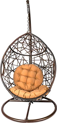 Webavita - Hängesessel mit Gestell, Rattan inkl. Sitzkissen | Farbe Beige/Braun | Hängestuhl für Ihren Garten, Balkon oder Terrasse