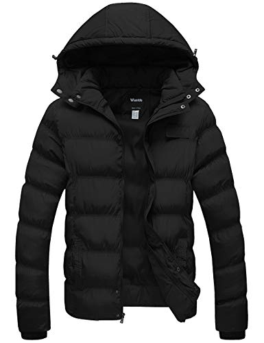 Wantdo Men's Winter Thicken Coat Puffer Jacket with Removable Hood Black X-Large