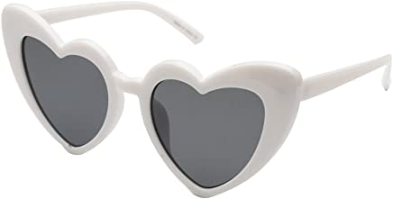 3c176bfc24 Cramilo Women Heart Shaped Sunglasses Fashion Cute Cat Eye Mod Style Retro  Glasses