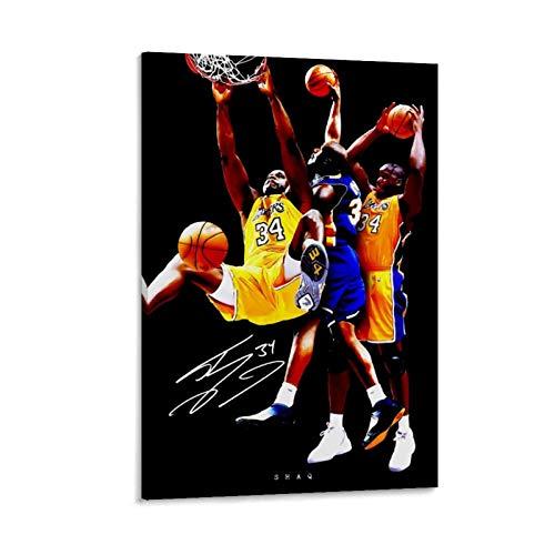 Yuhui NBA Shaq - Poster su tela e stampa artistica da parete, motivo: pallacanestro, 60 x 90 cm