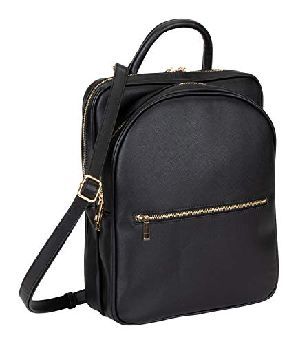 SIX 1 pc. of Black Vegan Leather Backpack with Golden Details (539-063)