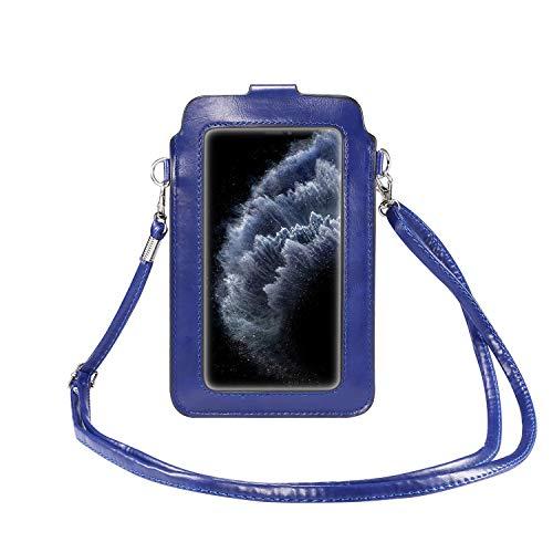 SZCINSEN Funda multifuncional para teléfono con ventana táctil, con correa ajustable para viajes, Crossbody Monedero (color: azul)