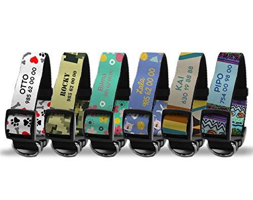 Getsingular Collares de Perro Personalizados con Nombre y teléfono   Diferentes diseños Modernos, para Perros pequeños, medianos y Grandes   Diseño Flowers - Talla M