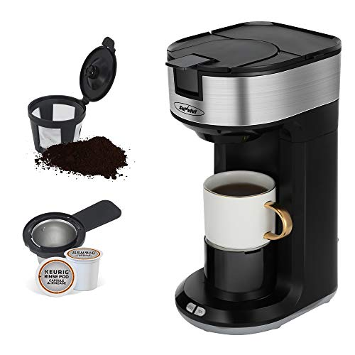 K Cup Coffee Maker for Capsule Pod Ground Coffee, Single Serve Coffee Maker with Permanent Filter 6-14oz Reservoir, Coffee Machine with Regulator One-Touch Button 1000W Fast Brew Auto Shut Off, Black