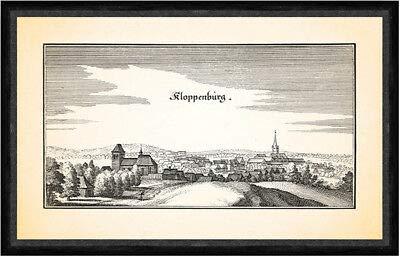 Kunstdruck Kloppenburg Burg Cloppenburg Bockwindmühle Eberborg-Brunnen Faks_Merian 0275
