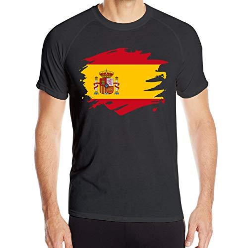 Camisetas de Manga Corta para Hombre de la Bandera de Salpicaduras de Pintura de España Tops de Ciclismo de Secado rápido, Talla XL