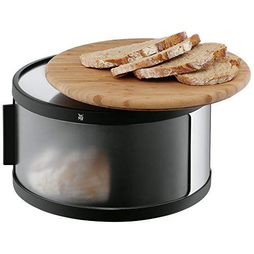 WMF Gourmet Brotkasten mit Schneidbrett Ø 32 x 13 cm rund, Brottrommel, Bambus, Cromargan Edelstahl, Kunststoff, schwarz