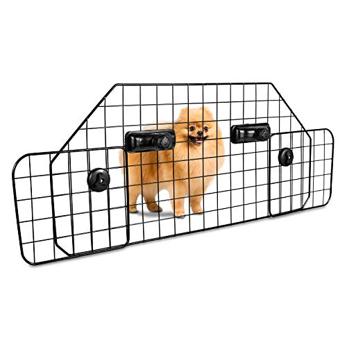 Zento Deals Adjustable Safety Car Dog Gate Heavy Duty Mesh Wire Barrier for SUVs, Cars and Vehicles, Safe for Pets, Headrest Protector, Perfect for Travelling, Universal Fit
