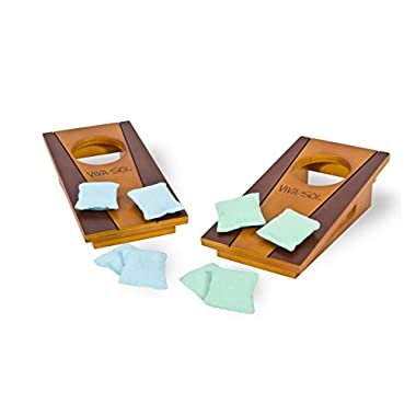 Viva Sol Miniature Version of Classic Bean Bag Toss Game Perfect for a Desk or Table , brown , 5″ x 10″ – VS5002