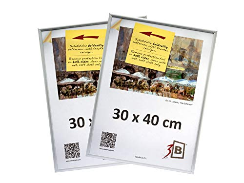 3-B Set 2 STK. - Bilderrahmen ALU Foto 30x40 cm- Silber matt - Alurahmen, Fotorahmen mit Polyesterglas. Sparpaket!