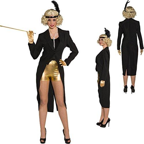 NET TOYS Damenfrack schwarz Showgirl Frack XL 46/48 eleganter Frauenfrack Kabarett Gehrock Damen Revue 30er Jahre Charleston Outfit Cabaret Show Kostüm