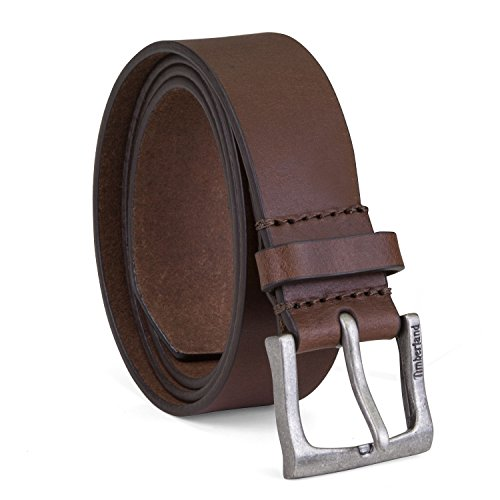 Timberland Men's Classic Leather Jean Belt 1.4 Inches Wide (Big & Tall Sizes Available), Brown, 38